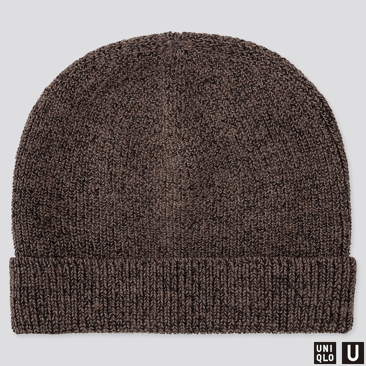 U KNITTED CAP, BROWN, large