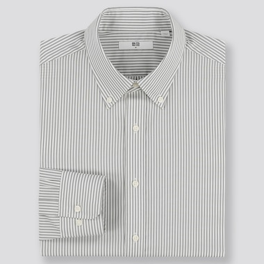 MEN EASY CARE STRIPED REGULAR-FIT LONG-SLEEVE SHIRT, GRAY, medium