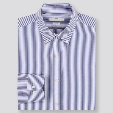 MEN EASY CARE STRIPED SLIM-FIT LONG-SLEEVE SHIRT, BLUE, medium