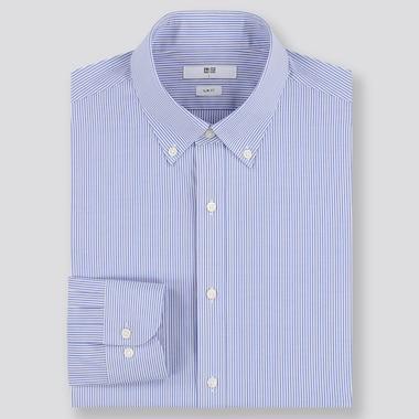MEN EASY CARE STRIPED SLIM-FIT LONG-SLEEVE SHIRT, BLUE, medium