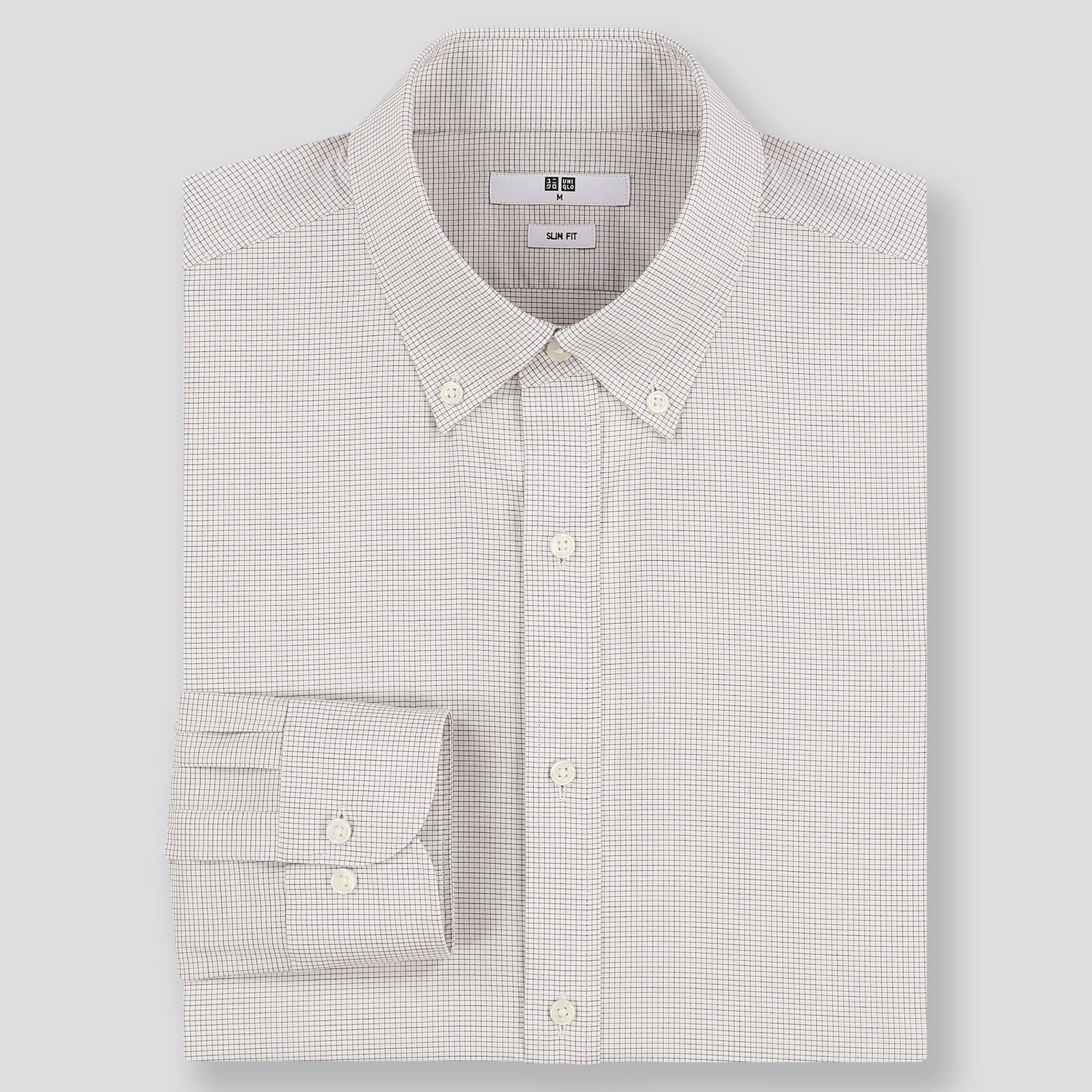 MEN EASY CARE CHECKED SLIM-FIT LONG-SLEEVE SHIRT