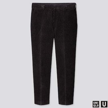 MEN U WIDE-FIT CORDUROY PANTS, BLACK, medium