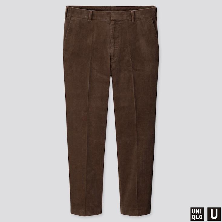 MEN U WIDE-FIT CORDUROY PANTS, BROWN, large