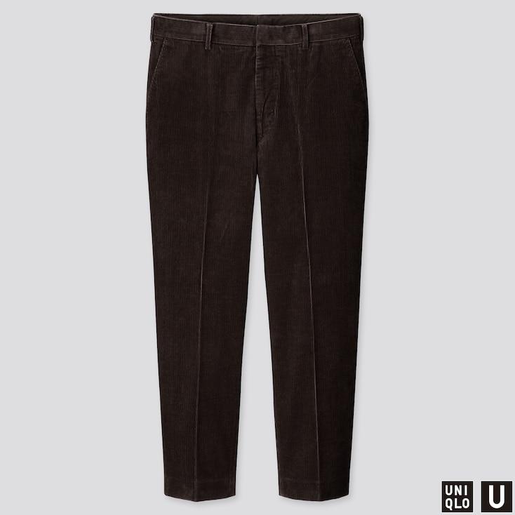 MEN U WIDE-FIT CORDUROY PANTS, DARK BROWN, large