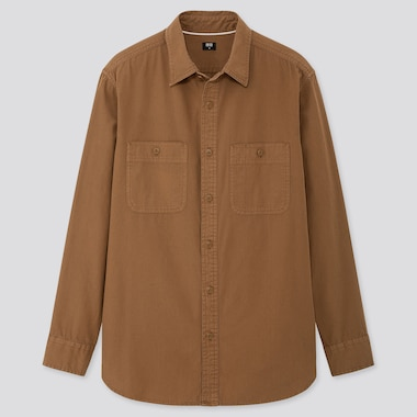 MEN WASH WORK REGULAR-FIT LONG-SLEEVE SHIRT (ONLINE EXCLUSIVE), BROWN, medium