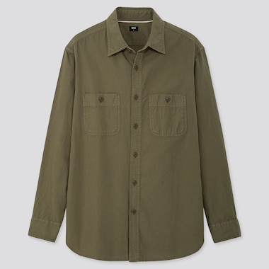 MEN WASH WORK REGULAR-FIT LONG-SLEEVE SHIRT (ONLINE EXCLUSIVE), OLIVE, medium