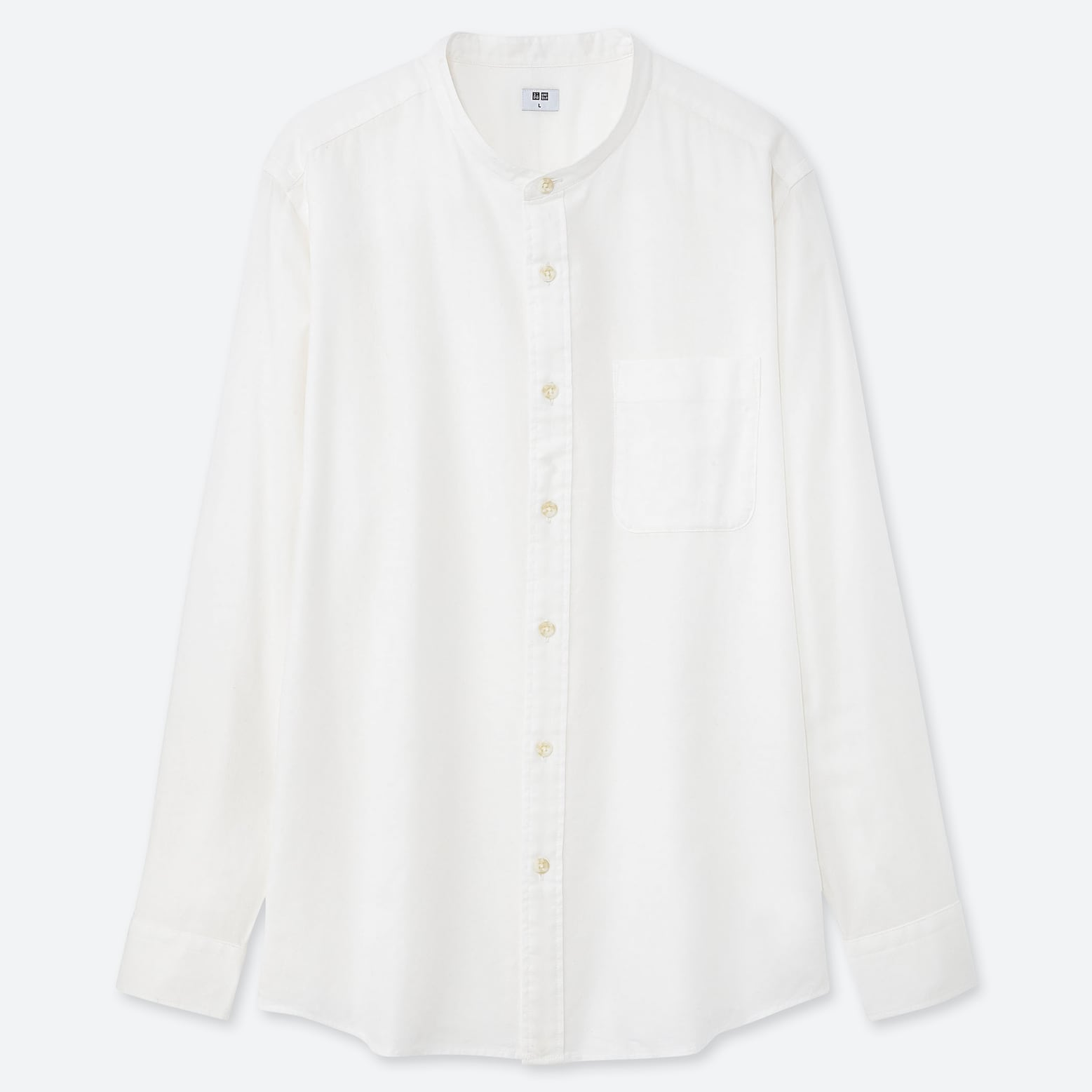 Soft Twill Stand Collar Long Sleeve Shirt by Uniqlo