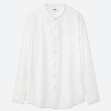 MEN SOFT TWILL STAND COLLAR LONG-SLEEVE SHIRT (ONLINE EXCLUSIVE), OFF WHITE, medium