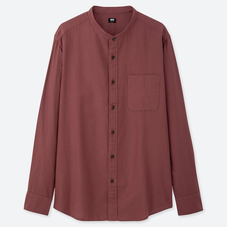 MEN SOFT TWILL STAND COLLAR LONG-SLEEVE SHIRT (ONLINE EXCLUSIVE), WINE, large