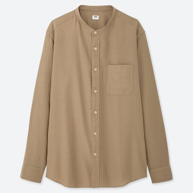 MEN SOFT TWILL STAND COLLAR LONG-SLEEVE SHIRT (ONLINE EXCLUSIVE), BEIGE, medium