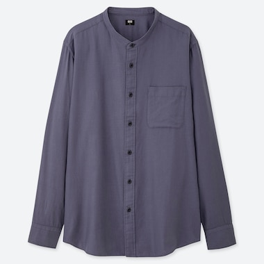 MEN SOFT TWILL STAND COLLAR LONG-SLEEVE SHIRT (ONLINE EXCLUSIVE), BLUE, medium