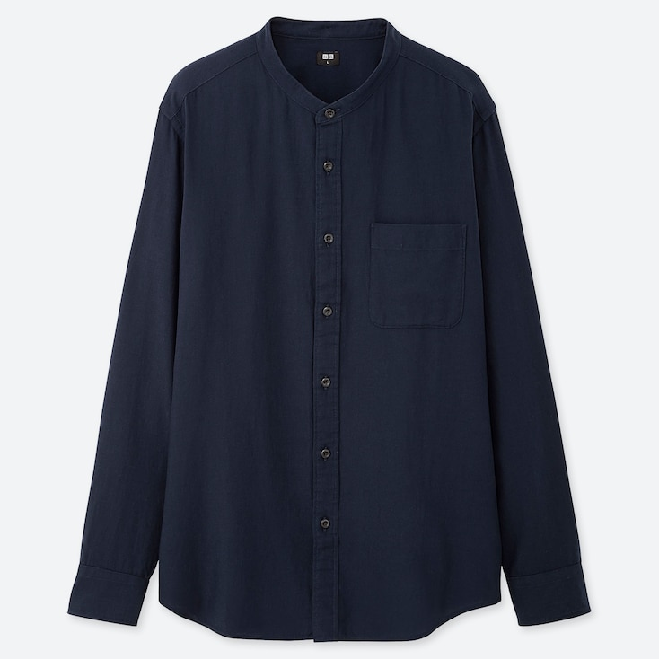 MEN SOFT TWILL STAND COLLAR LONG-SLEEVE SHIRT (ONLINE EXCLUSIVE), NAVY, large