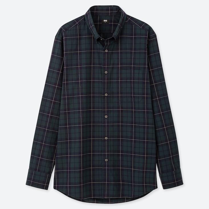 Men Extra Fine Cotton Broadcloth Long-Sleeve Shirt, Dark Green, Large