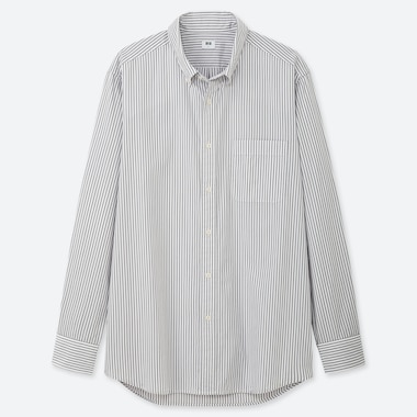 MEN EXTRA FINE COTTON BROADCLOTH REGULAR FIT STRIPED SHIRT (BUTTON-DOWN COLLAR)