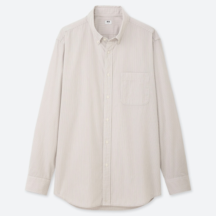 MEN EXTRA FINE COTTON BROADCLOTH LONG-SLEEVE SHIRT, GRAY, large