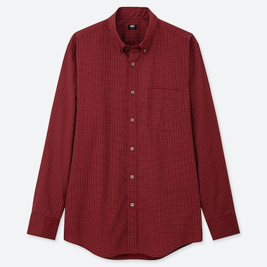 MEN EXTRA FINE COTTON BROADCLOTH DOTTED SHIRT (BUTTON-DOWN COLLAR)
