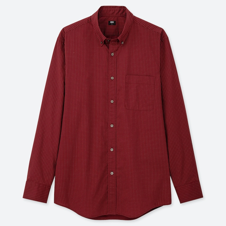 MEN EXTRA FINE COTTON BROADCLOTH LONG-SLEEVE SHIRT, RED, large