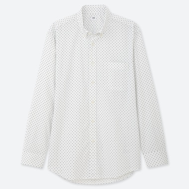 MEN EXTRA FINE COTTON BROADCLOTH REGULAR FIT DOTTED SHIRT (BUTTON-DOWN COLLAR)
