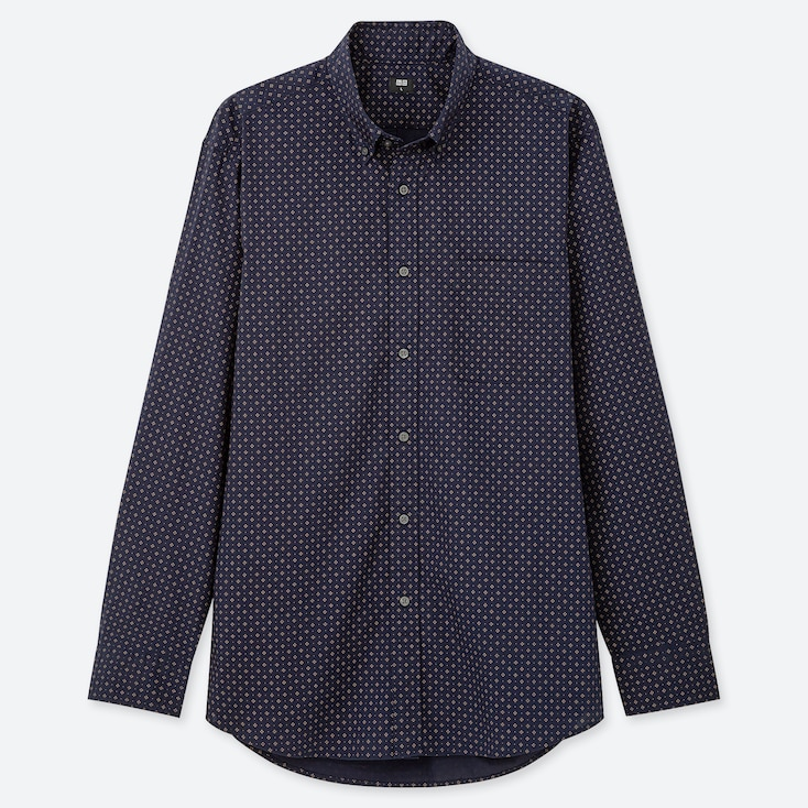 MEN EXTRA FINE COTTON BROADCLOTH LONG-SLEEVE SHIRT, NAVY, large