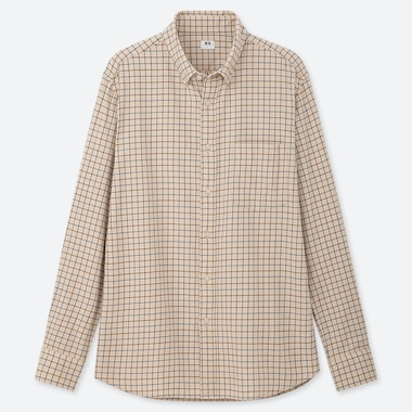 MEN FLANNEL CHECKED LONG-SLEEVE SHIRT, BEIGE, medium