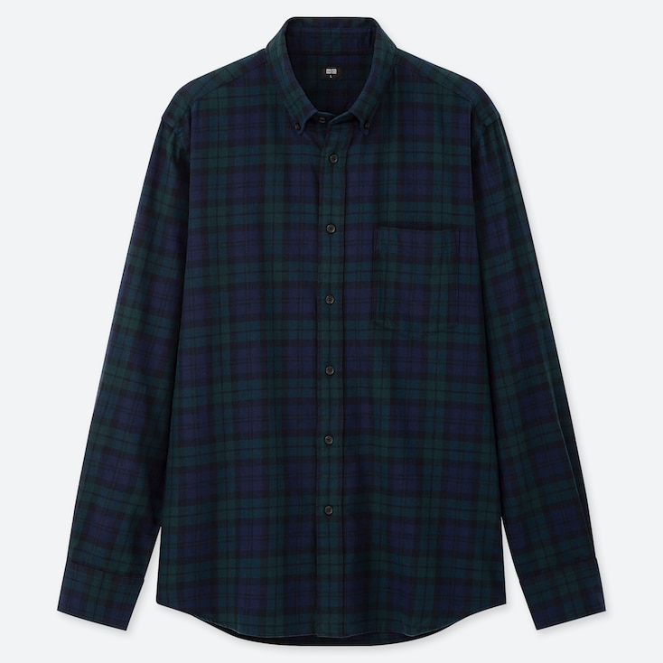 Men Flannel Checked Long-Sleeve Shirt, Dark Green, Large