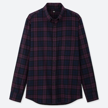 Men Flannel Checked Long-Sleeve Shirt, Purple, Medium