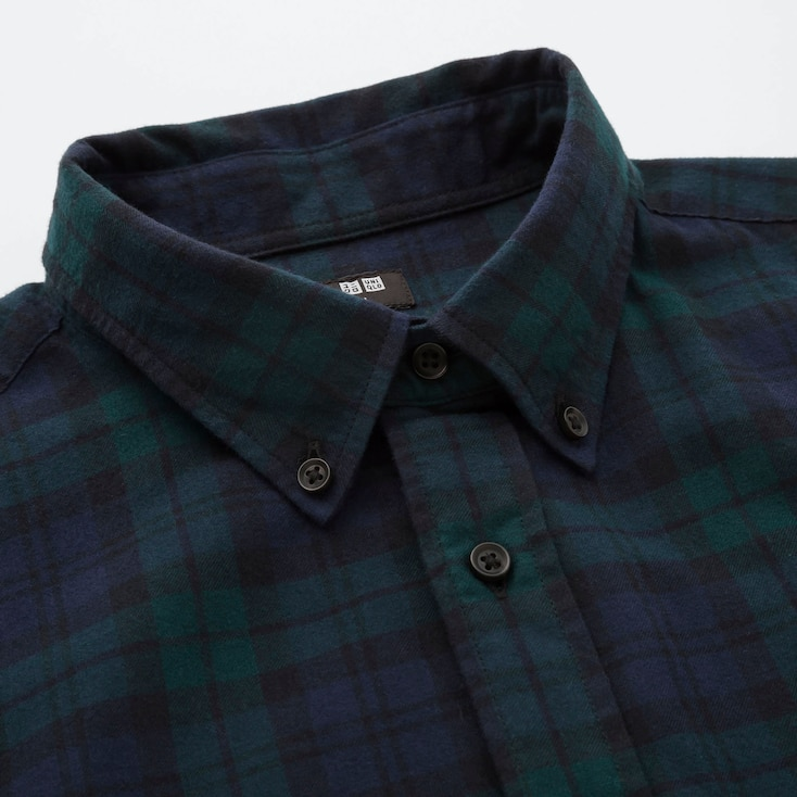 Men Flannel Checked Long-Sleeve Shirt, Purple, Large