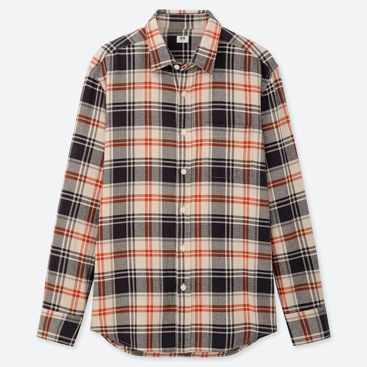Men Flannel Checked Long-Sleeve Shirt, Beige, Large