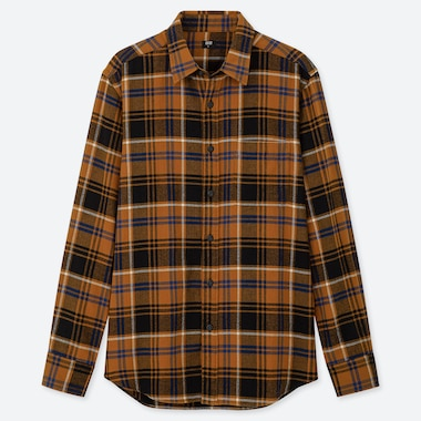 MEN FLANNEL CHECKED LONG-SLEEVE SHIRT, YELLOW, medium