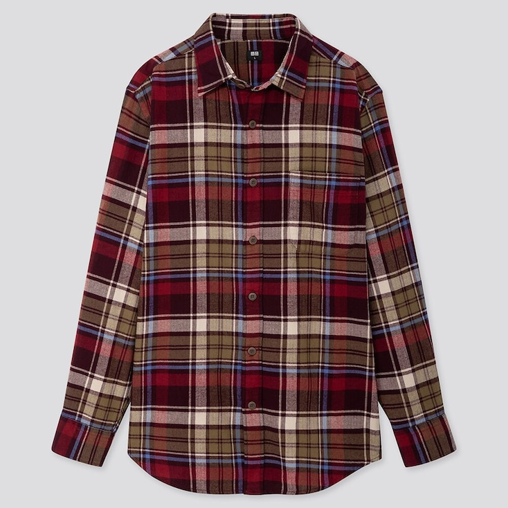 MEN FLANNEL CHECKED LONG-SLEEVE SHIRT, WINE, large