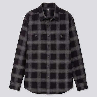 Men Flannel Checked Long-Sleeve Shirt, Dark Gray, Medium