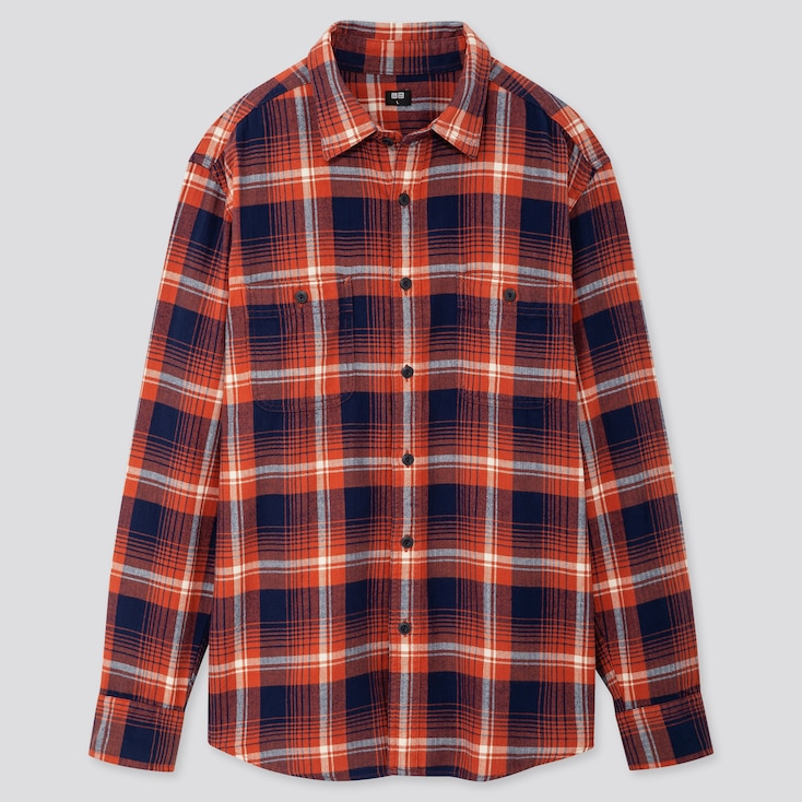 Men Flannel Checked Long-sleeve Shirt, Orange, Large