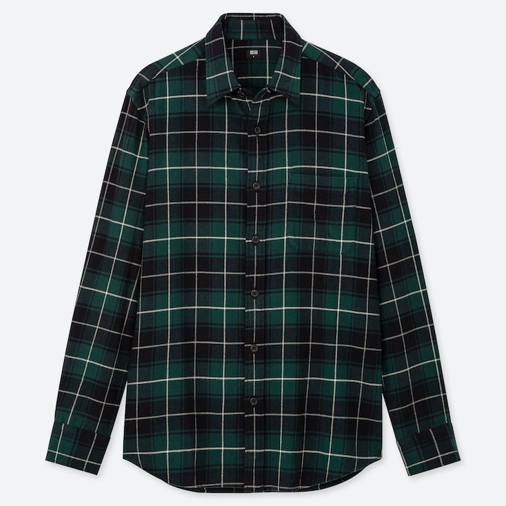 Men Flannel Checked Long-Sleeve Shirt, Green, Large