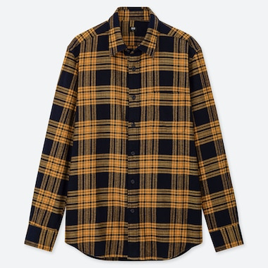 996603be MEN FLANNEL CHECKED LONG-SLEEVE SHIRT, YELLOW, medium