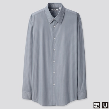 MEN U BROADCLOTH STRIPED SHIRT, GRAY, medium