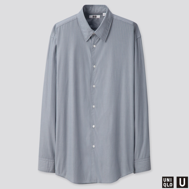 MEN U BROADCLOTH STRIPED SHIRT, GRAY, large