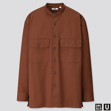 MEN U STAND COLLAR LONG-SLEEVE SHIRT, BROWN, medium