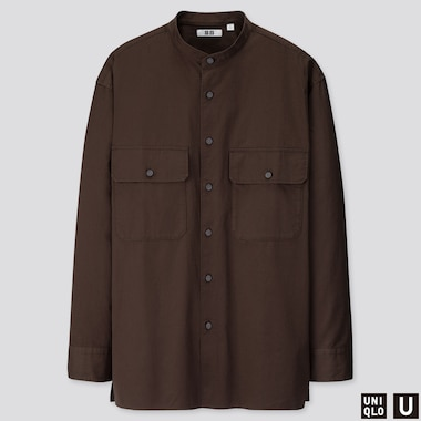 MEN U STAND COLLAR LONG-SLEEVE SHIRT, DARK BROWN, medium