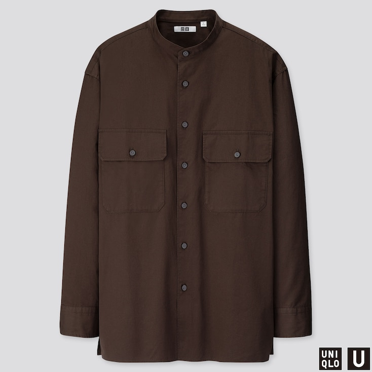 MEN U STAND COLLAR LONG-SLEEVE SHIRT, DARK BROWN, large