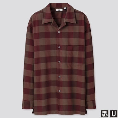 MEN U OPEN COLLAR FLANNEL CHECKED LONG-SLEEVE SHIRT, WINE, medium