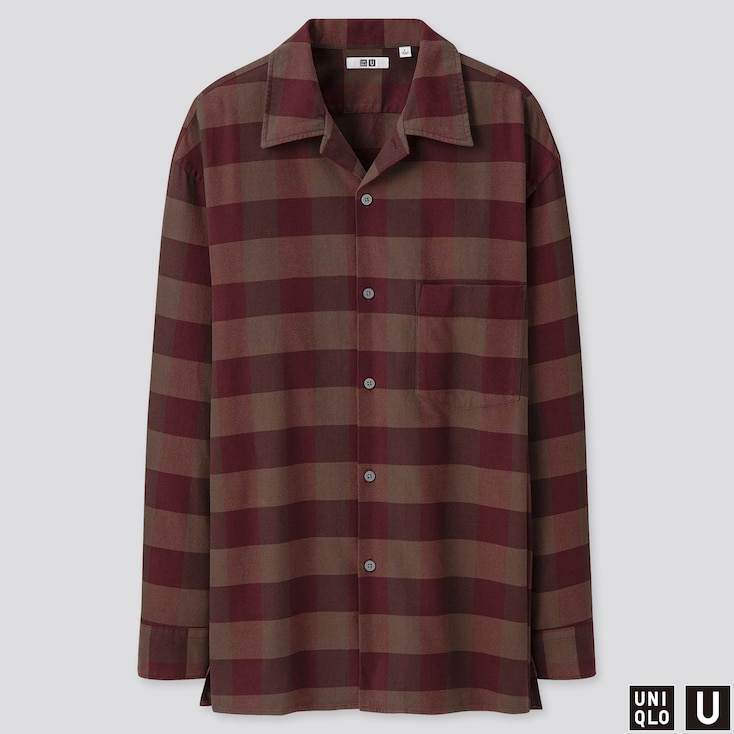 MEN U OPEN COLLAR FLANNEL CHECKED LONG-SLEEVE SHIRT, WINE, large