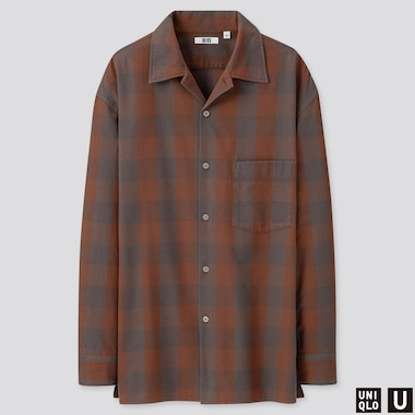 MEN U OPEN COLLAR FLANNEL CHECKED LONG-SLEEVE SHIRT, BROWN, medium