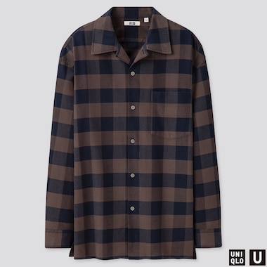 MEN UNIQLO U CHECKED SHIRT (OPEN COLLAR)