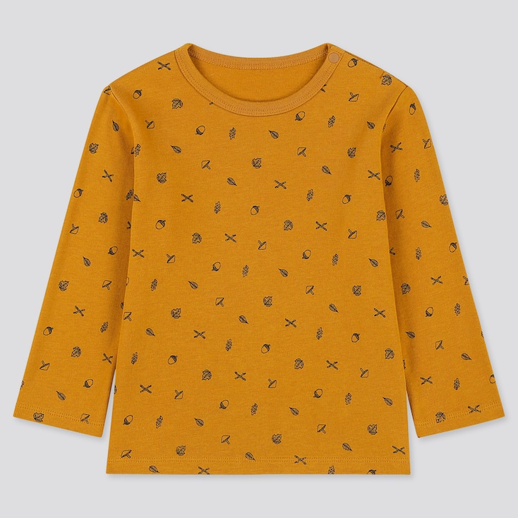 TODDLER CREW NECK LONG-SLEEVE T-SHIRT, YELLOW, large