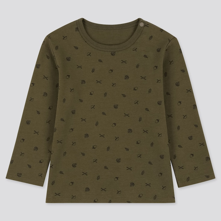 Toddler Crew Neck Long-Sleeve T-Shirt, Olive, Large