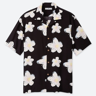 Men Hawaii Open Collar Short-Sleeve Shirt, Black, Medium