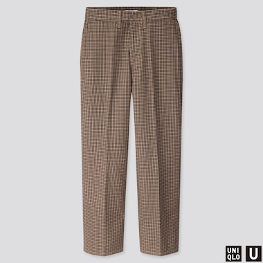 WOMEN U CHECKED STRAIGHT PANTS, BEIGE, medium