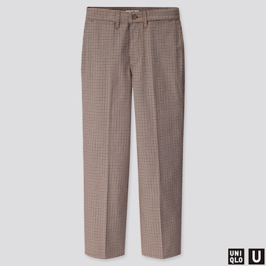 WOMEN U CHECKED STRAIGHT PANTS, BROWN, medium