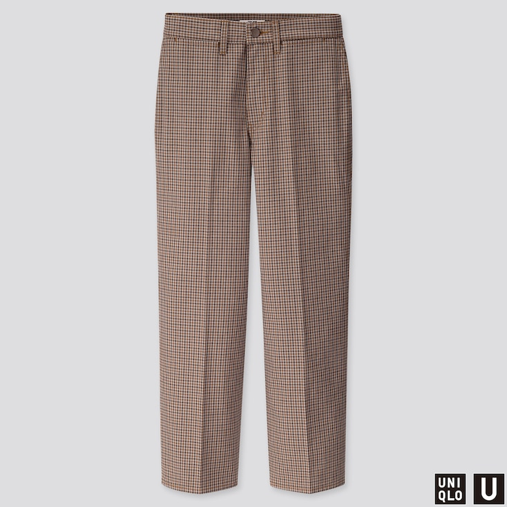 WOMEN U CHECKED STRAIGHT PANTS, BROWN, large