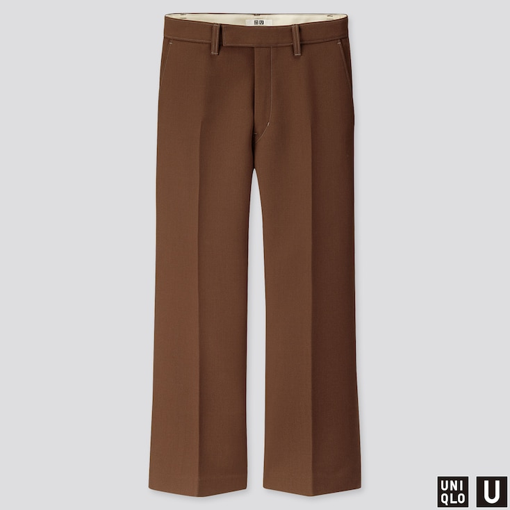 WOMEN U WOOL-BLEND FLARE PANTS, BROWN, large